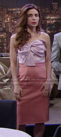 Victoria's pink and coral strapless bow dress on The Young and the Restless