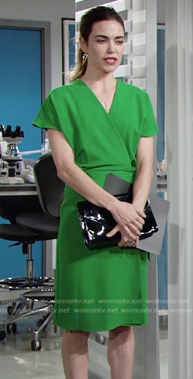 Victoria's green wrap dress on The Young and the Restless
