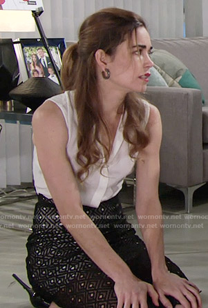 Victoria's button front dress with lace skirt on The Young and the Restless