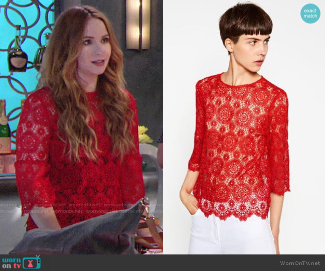 Zara Red Lace Top worn by Mariah Copeland (Camryn Grimes) on The Young & the Restless