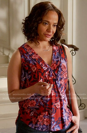 Zoila's red and purple floral sleeveless top on Devious Maids