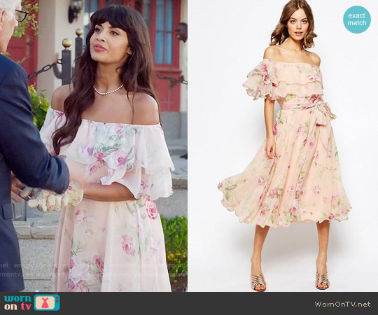 ASOS Floral Bardot Off The Shoulder Midi Prom Dress With Multi Ruffle worn by Jameela Jamil on The Good Place