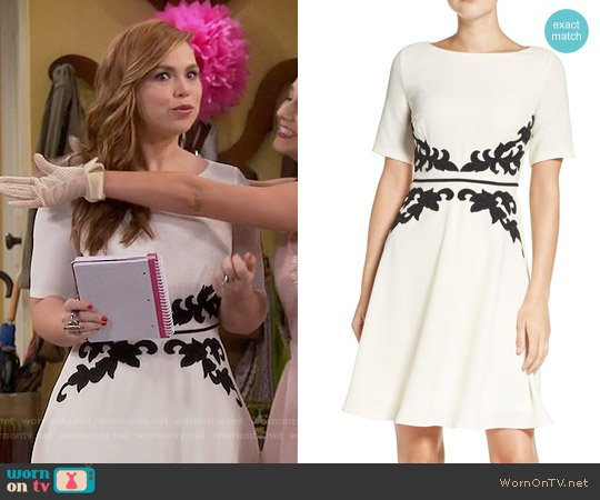 Adrianna Papell Appliqué Waist Crepe Fit & Flare Dress worn by Kristin Baxter (Amanda Fuller) on Last Man Standing