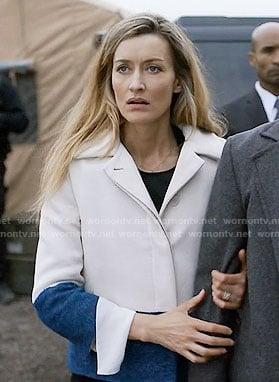 Alex's blue and white colorblock jacket on Designated Survivor