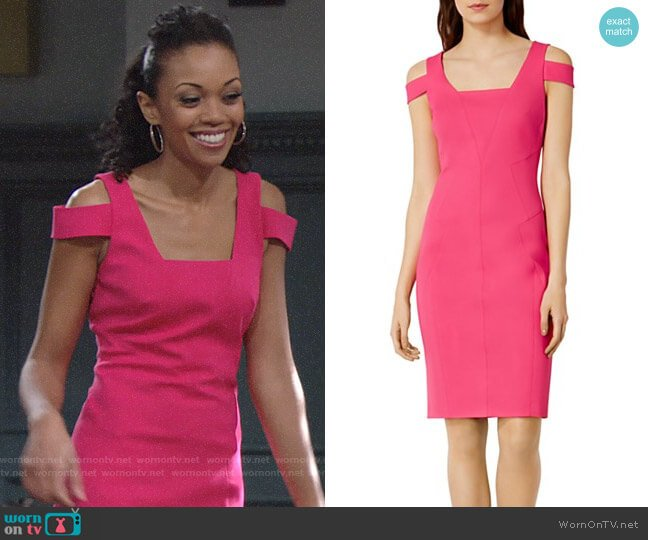 Karen Millen Cold Shoulder Pencil Dress worn by Mishael Morgan on The Young & the Restless