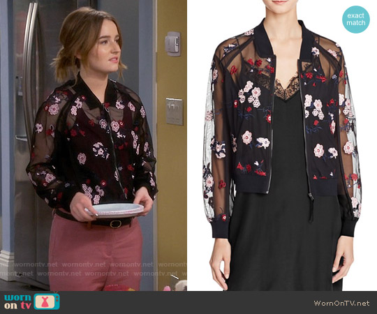 Lucy Paris Embroidered Bomber Jacket worn by Kaitlyn Dever on Last Man Standing