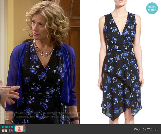Proenza Schouler Asymmetrical Floral Print Wrap Dress worn by Nancy Travis on Last Man Standing