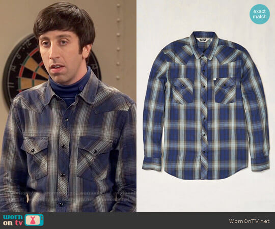 Urban Outfitters Shadow Plaid Western Button-Down Shirt by Salt Valley worn by Howard Wolowitz (Simon Helberg) on The Big Bang Theory