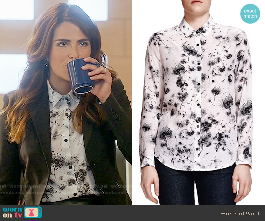 The Kooples Dandelion-Print Silk Blouse worn by Karla Souza on HTGAWM
