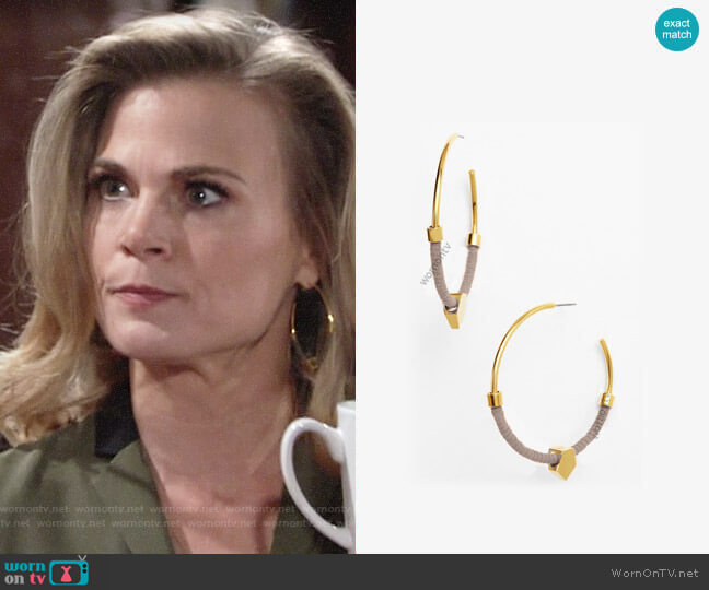 Vince Camuto Summer Warrior Hoop Earrings worn by Gina Tognoni on The Young & the Restless