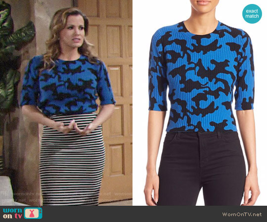 Zoe Jordan Newton Wool & Cashmere Camo-Print Sweater worn by Melissa Claire Egan on The Young & the Restless