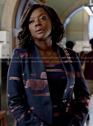 Annalise's black and copper striped jacket and dress on How to Get away with Murder