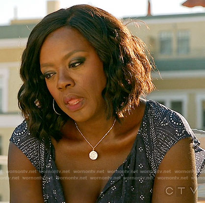 Annalise's navy printed maxi dress on How to Get Away with Murder