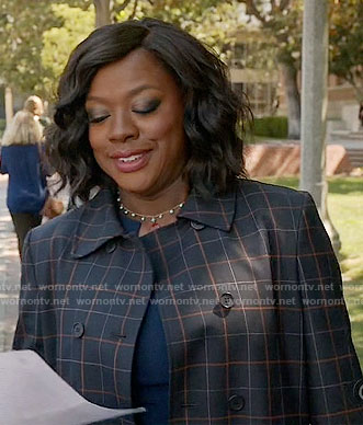 Annalise's black windowpane checked coat on How to Get Away with Murder