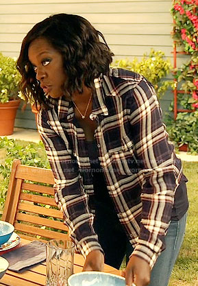 Annalise's navy plaid shirt on How to Get Away with Murder