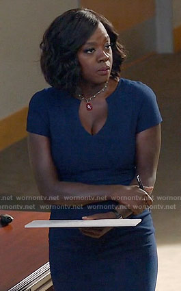 Annalise's blue split neck dress on How to Get Away with Murder