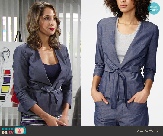 Armani Exchange Chambray Tie Waist Blazer worn by Christel Khalil on The Young & the Restless
