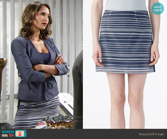 Armani Exchange Tweed Front Mini Skirt worn by Lily Winters on The Young & the Restless