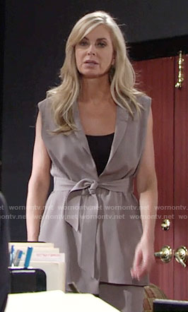 Ashley's belted vest on The Young and the Restless