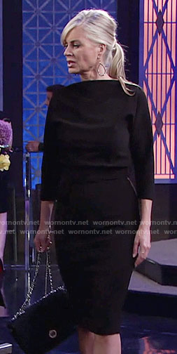Ashley's black dolman sleeve dress on The Young and the Restless