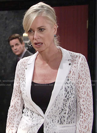 Ashley's white lace blazer on The Young and the Restless