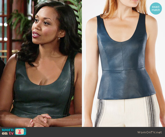 Bcbgmaxazria Cladiana Faux-Leather Peplum Top worn by Mishael Morgan on The Young & the Restless