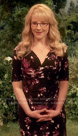 Bernadette's black and purple floral dress on The Big Bang Theory