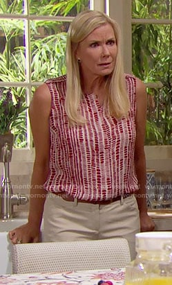 Brooke's red dashed print top on The Bold and the Beautiful