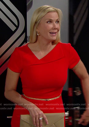 Brooke's red folded neck dress on The Bold and the Beautiful