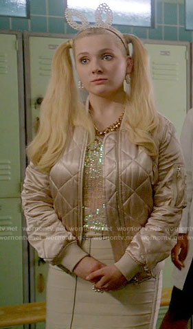 Chanel 5's pink quilted jacket and white tromp l'oeil skirt on Scream Queens