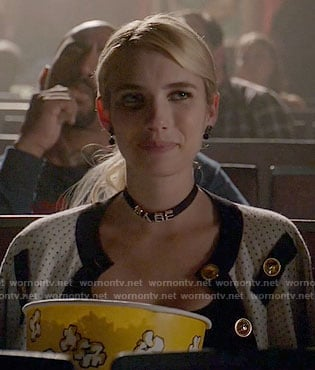 Chanel's white polka dot jacket and BABE choker on Scream Queens