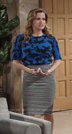 Chelsea's blue camouflage top and striped skirt on The Young and the Restless