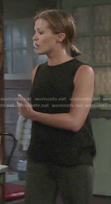 Chelsea's black sleeveless top on The Young and the Restless