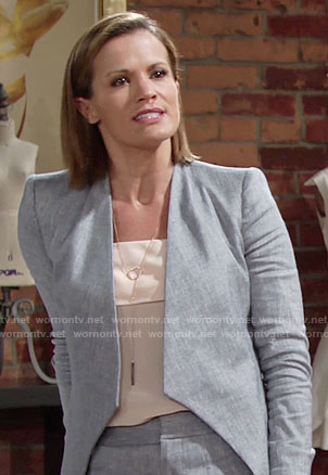 Chelsea's chambray jacket and shorts on The Young and the Restless