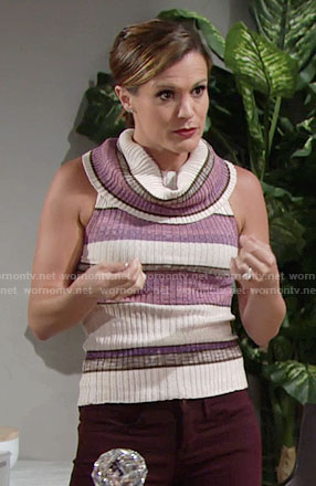 Chelsea's purple striped sleeveless cowl neck top on The Young and the Restless