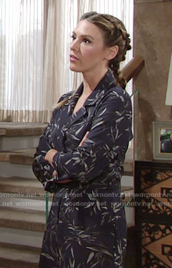 Chloe's navy leaf print playsuit on The Young and the Restless