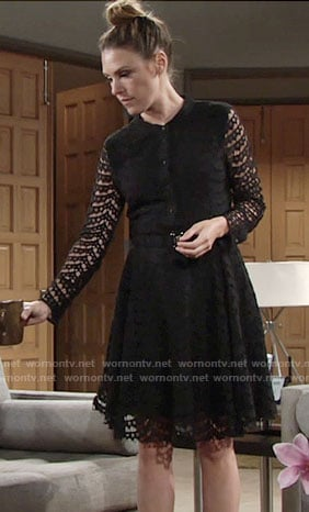 Chloe's black lace shirtdress on The Young and the Restless