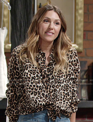 Chloe's leopard print shirt on The Young and the Restless