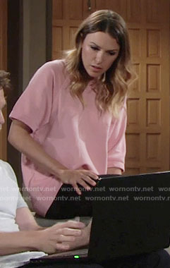 Chloe's pink boxy top on The Young and the Restless