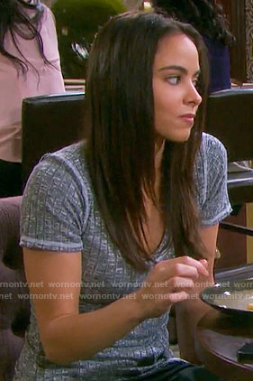 Ciara's grey ribbed tee on Days of our Lives