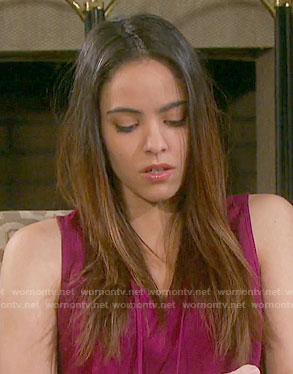 Ciara's purple sleeveless top with smocked back on Days of our Lives