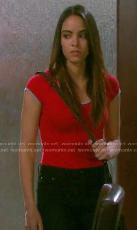 Ciara's red ringer tee on Days of our Lives