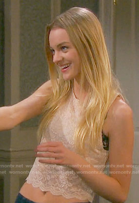 Claire's beige lace crop top on Days of our Lives