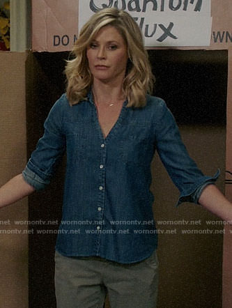 Claire's denim button front shirt on Modern Family