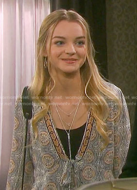 Claire's printed tie front top on Days of our Lives