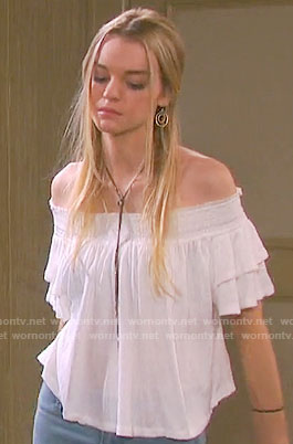 Claire's white off-shoulder top on Days of our Lives