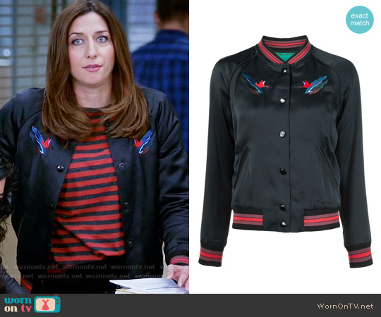 Coach Embroidered Landscape Bomber Jacket worn by Gina Linetti (Chelsea Peretti) on Brooklyn Nine-Nine