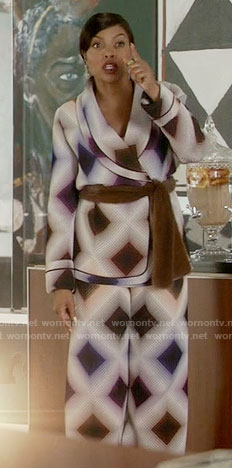 Cookie's diamond printed wrap jacket and pants on Empire