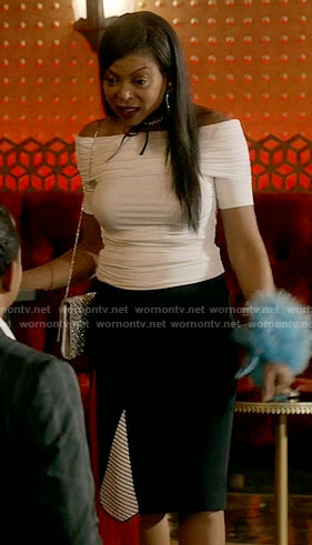 Cookie's white off-shoulder top and crystal choker on Empire
