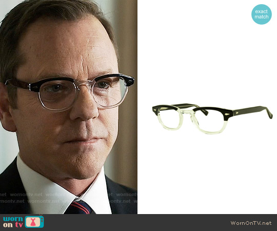 Dolabany Eyewear Arnold Glasses in Black Crystal worn by Kiefer Sutherland on Designated Survivor